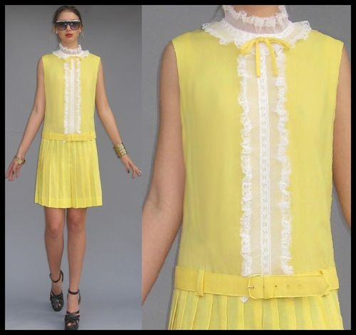Vtg 60s Mod Yellow Ruffle Babydoll Scooter Dolly Dress Ruffle Pleated Skirt M L   eBay