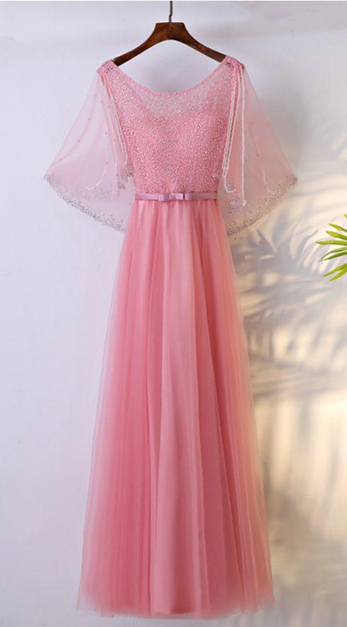 Sexy pink dress evening dress veils and foil