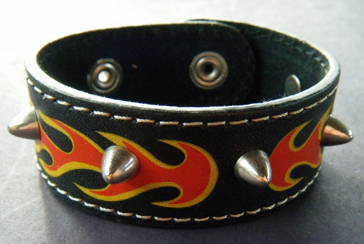 PUNK RED FLAME FIRE GENUINE BLACK LEATHER BRACELET STUDDED STUDS WRISTBAND