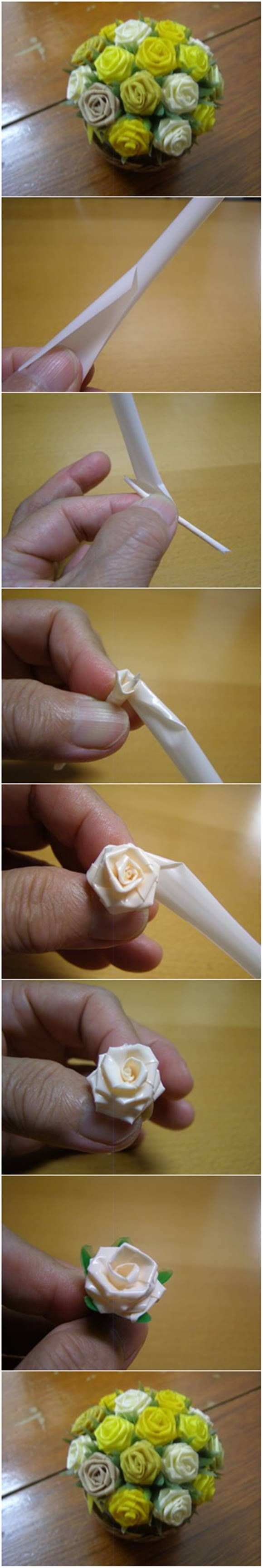 How to Make Beautiful Roses from Drinking Straws #craft #decor #flower