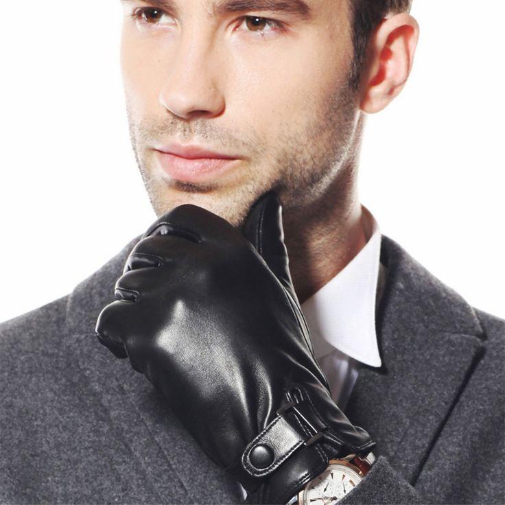 New 2017 Promotion Men Genuine Leather Gloves Warmth Solid Sheepskin Glove Fashion Wrist Thicken Winter Driving M013NC