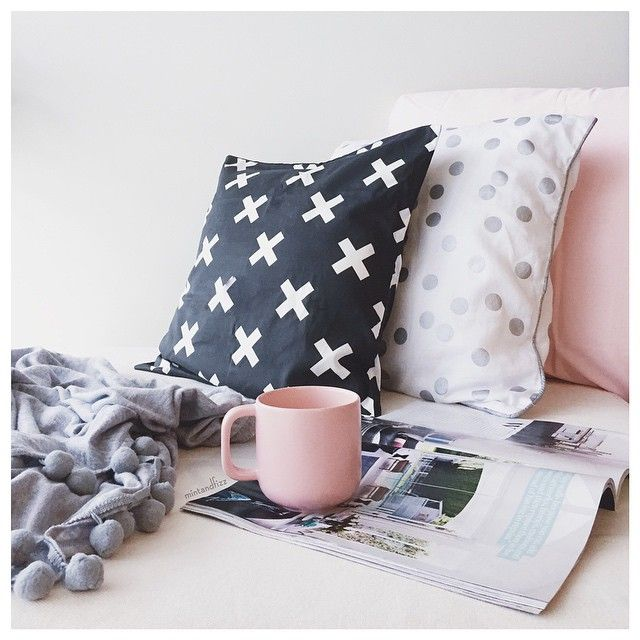 Time to Relax... | Interiors instagram.com/mintandfizz #cushions #styling #interiors #blackandwhite #pink #grey #pompom