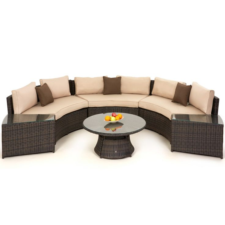 Maze Rattan Half Moon Curved Garden Sofa Set | Internet Gardener