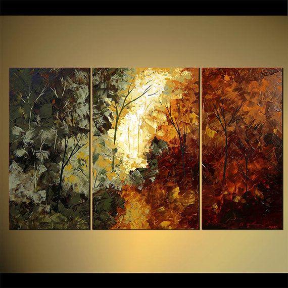 Paisaje árboles florecientes pintura Original por OsnatFineArt