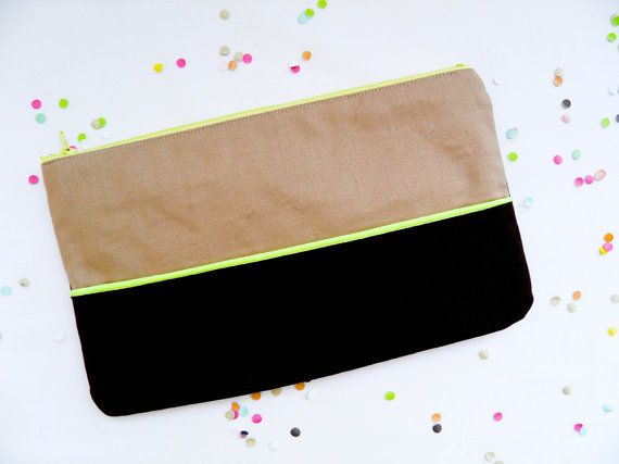 Neon Clutch 6X10 color block in brown and camel with Neon yellow piping.  Gorgeous color block padded ipad cases, clutches, pouches at Pamplemouss, Etsy.