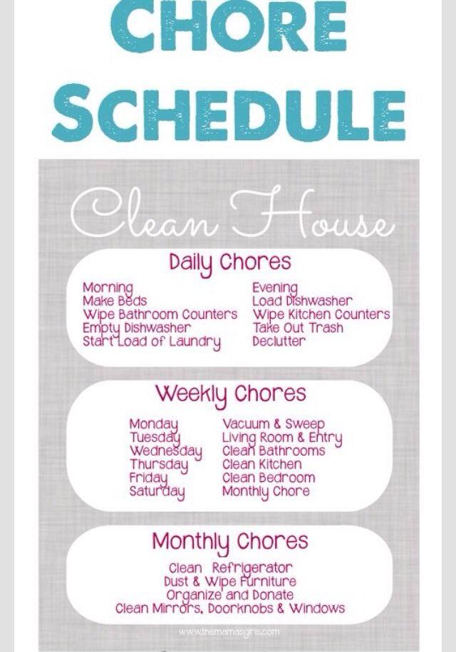 Chore Schedule- A Clean House