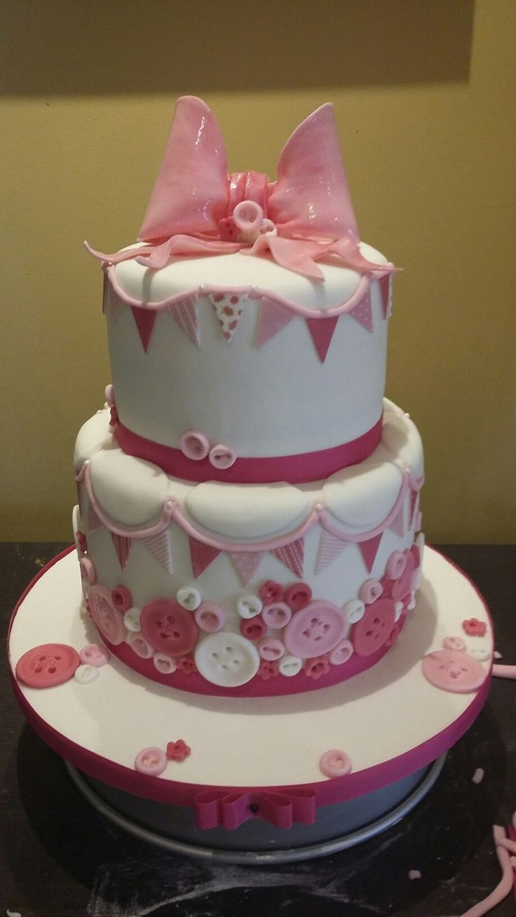 Baby girl, baby shower, christening cake, buttons and bunting by Danielle Smith (Rockylicious Cakes)