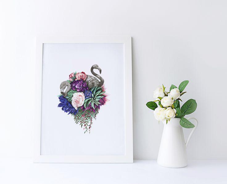 Flamingo art, Floral illustration, flower art print, pencil illustration