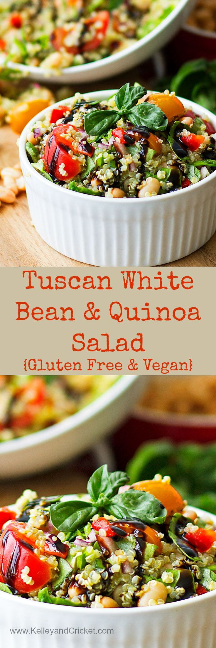 Fresh Italian flavors highlight this healthy and protein packed white bean and quinoa salad. Gluten free and vegan!