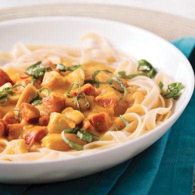 Fettucines au poulet et chorizo, sauce à la courge - Recettes - Cuisine et nutrition - Pratico Pratiques