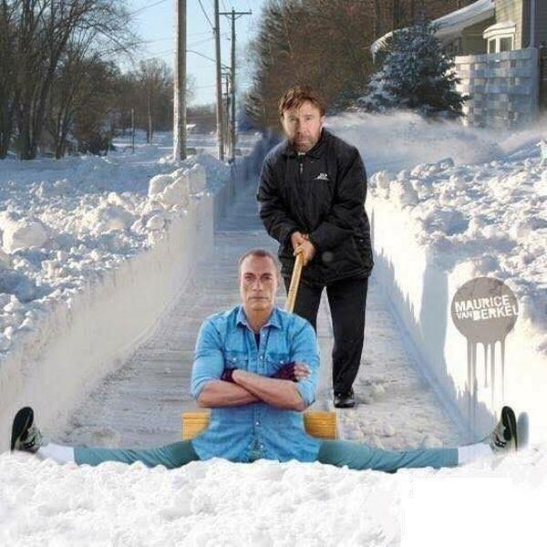 Chuck Norris's Snow Removal Machine Is Jean-Claude Van Damme