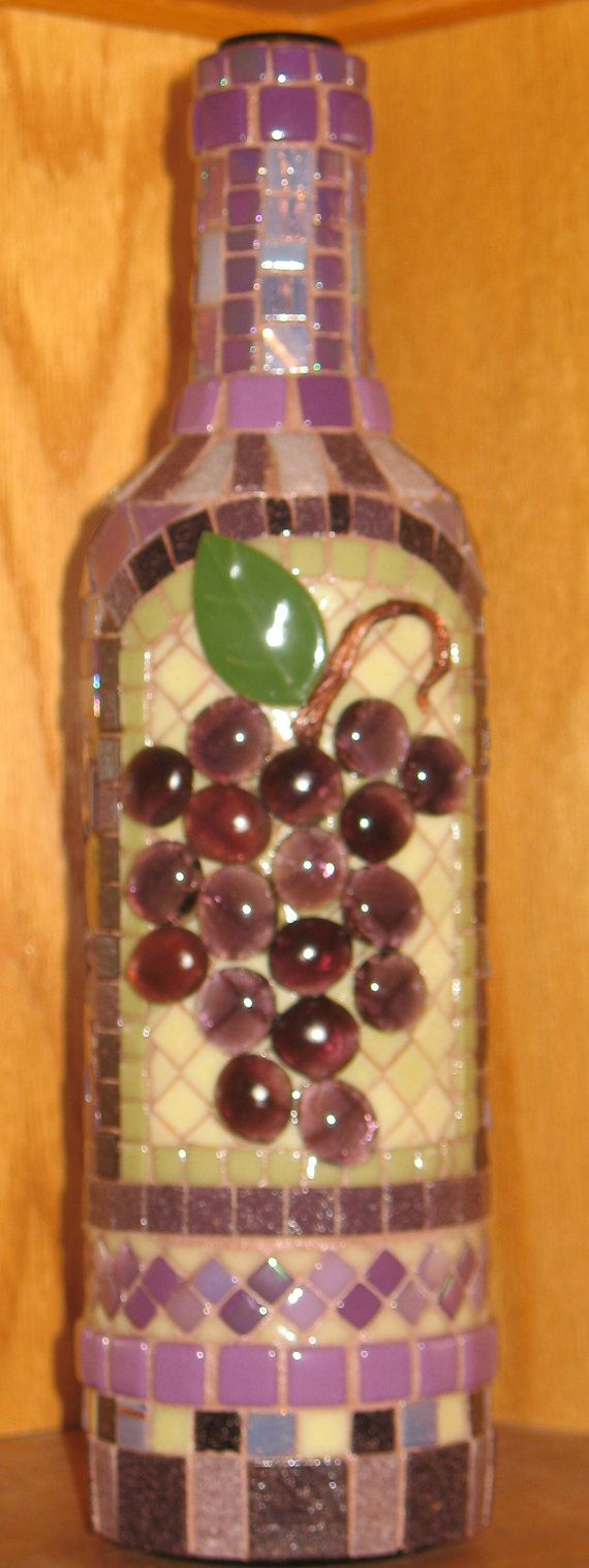 So pretty!!!  I love the grapes. MOSAIC GRAPES WINE Bottle - by ARTISTICMOSAICDESIGN, $99.00
