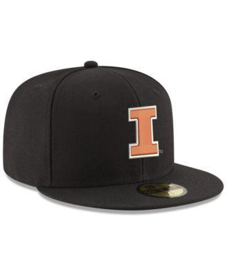 New Era Illinois Fighting Illini Shadow 59FIFTY Fitted Cap - Black/Orange 7 1/4
