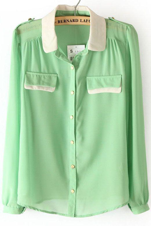 Light green blouse.