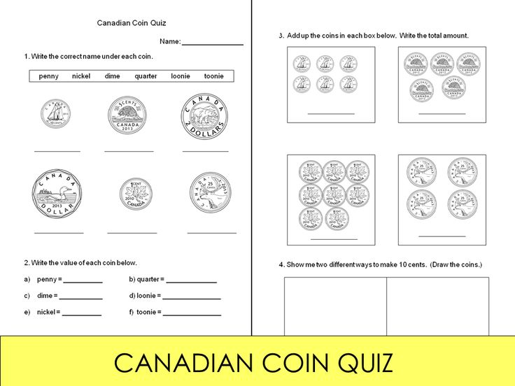 FREE! A short quiz on identifying the Canadian coins (penny, nickel, dime, quarter, loonie, toonie) and their values, and adding up coins.