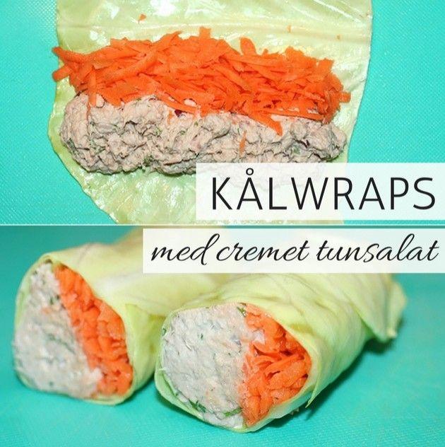 Lækre og sunde kålwraps med dejlig cremet tunsalat og revet gulerod.