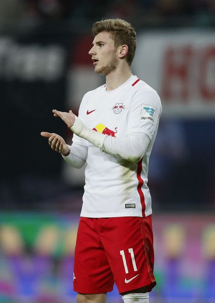 Timo Werner of RB Leipzig reacts during the Bundesliga match between RB Leipzig and TSG 1899 Hoffenheim at Red Bull Arena on January 28, 2017 in Leipzig, Germany.