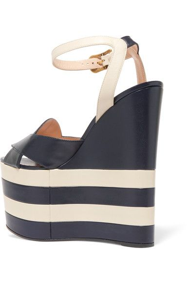 Gucci - Two-tone Leather Wedge Sandals - Navy - IT38.5