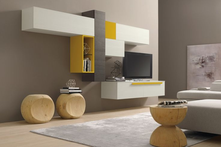 Librería color Giallo Miele, Frassino Bianco y Frassino Ardesia | ColombiniCasa