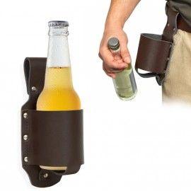 Geschenk: Kultiger Bierholster aus echtem Leder