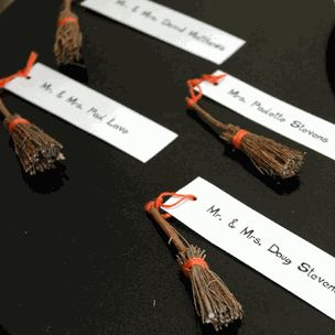 """We've Jumped The Broom"" Broomstick Place Card Holders (Set of 4) - $2.60"