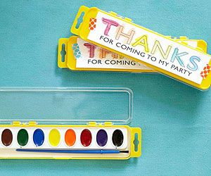 Thank Hues! Send a little inspiration home with these easy favors. Before the party, print copies of a thank-you message and have your child paint them with watercolors. Use pretty tape to affix the notes to the paint sets.@FamilyFun magazine