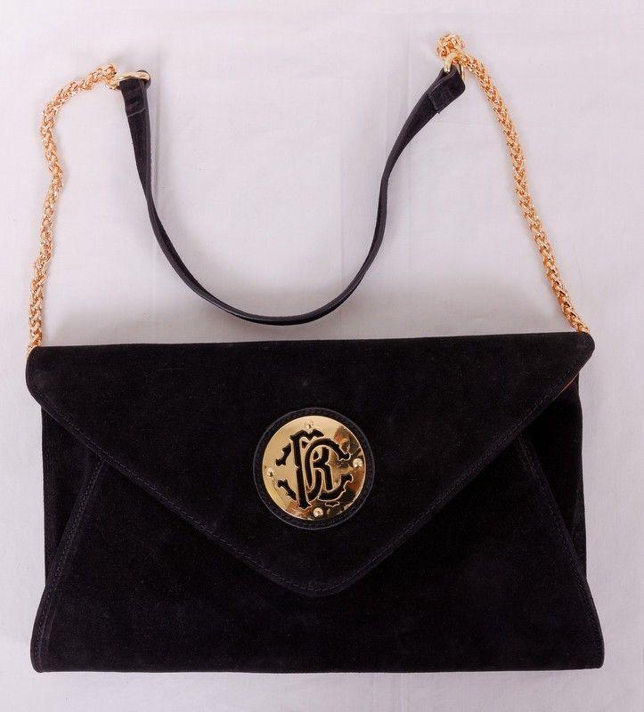 Сумка-клатч Roberto Cavalli черная с эмблеммой. Размер 34x20x8cm #20028