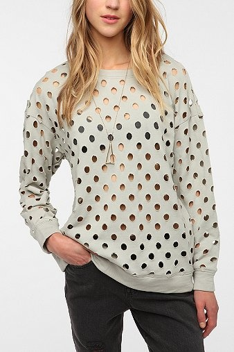 Circle Die Cut Sweatshirt --- Super cute with a studded bra! Both could be DIY'd!