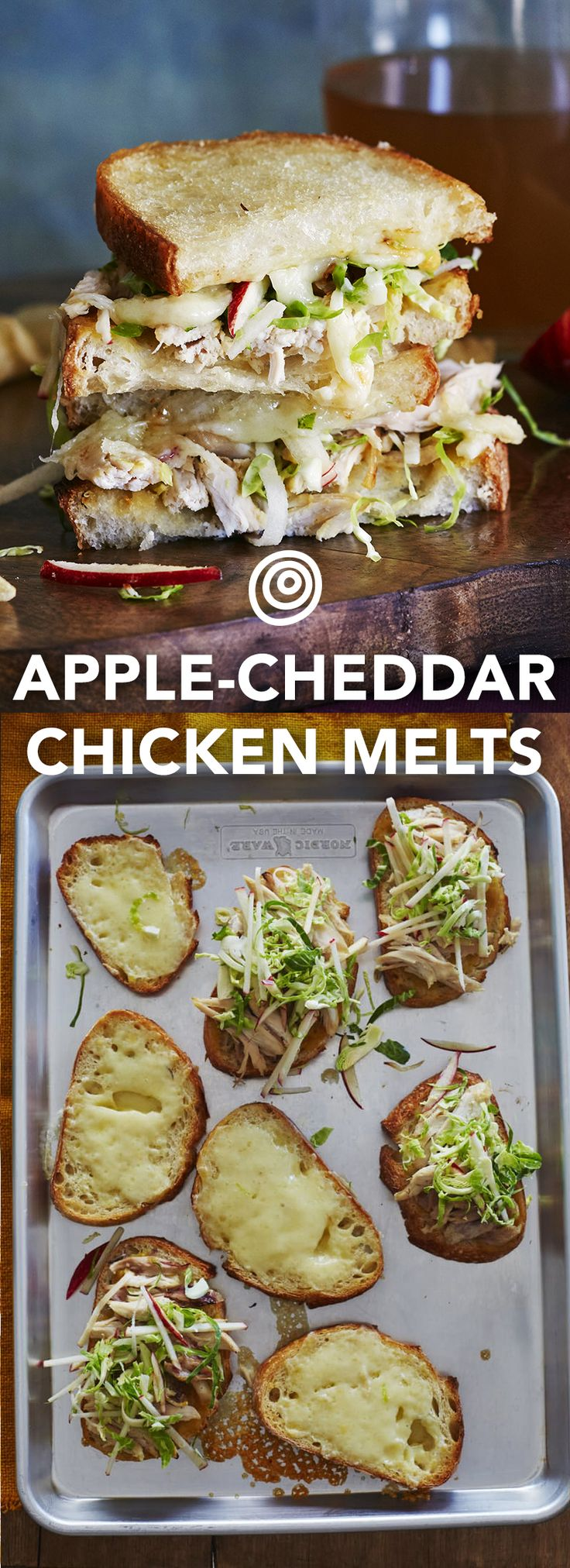 Apple, Cheddar & Chicken Melts Recipe. Add this to the top of your fall recipes and ideas list! This wonderful sheet pan meal is an easy way to serve up new autumn comfort foods for dinner - for a crowd even. You'll need apples, cheddar, rotisserie chicken, honey, brussels sprouts, lemon juice, and sourdough for these unique and delicious sandwiches.