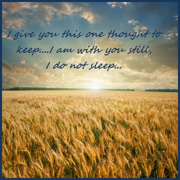 I give you this one thought to keep... I am with you still, I do not sleep.  ~Native Indian Prayer