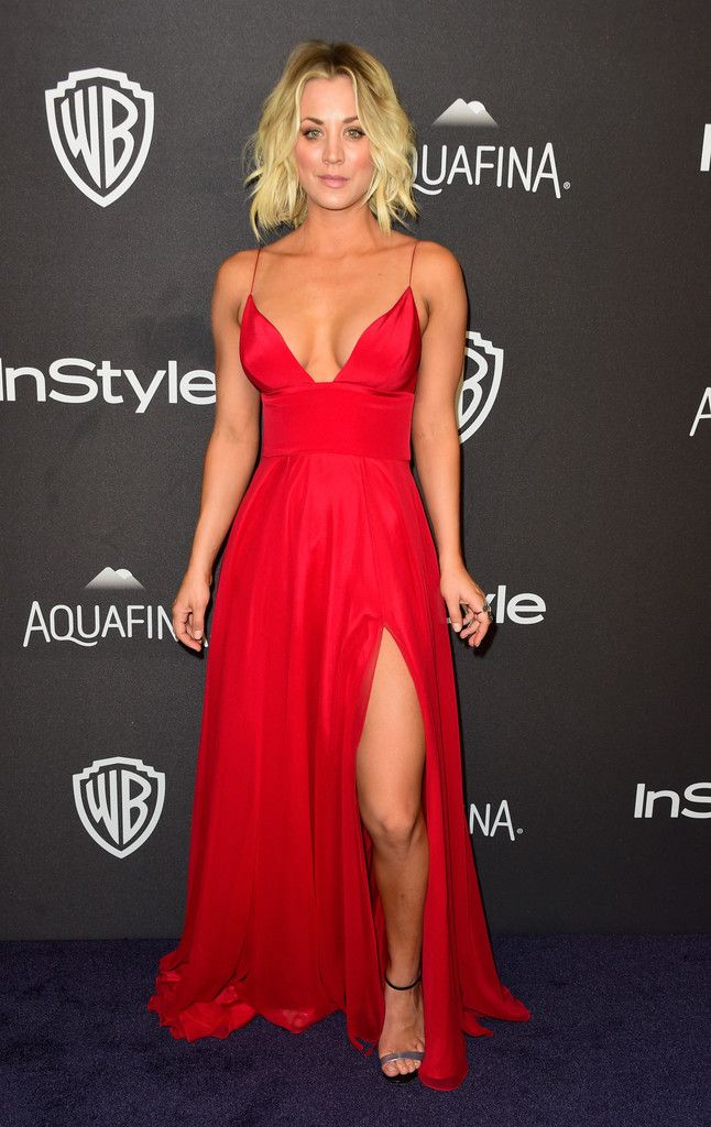 Kaley Cuoco Evening Dress - Kaley Cuoco looked stunning in a bright red Christian Siriano gown with a thigh-high slit at the 2016 Golden Globes after parties.