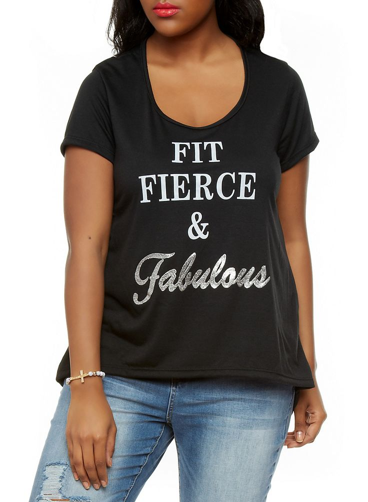 Rainbow Shops Plus Size Fit Fierce And Fabulous Graphic Tee with High Low Hem $9.99