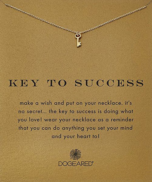 "Dogeared Reminder ""Key To Success"" Gold-Plated Sterling Silver Pendant Necklace, 18"""