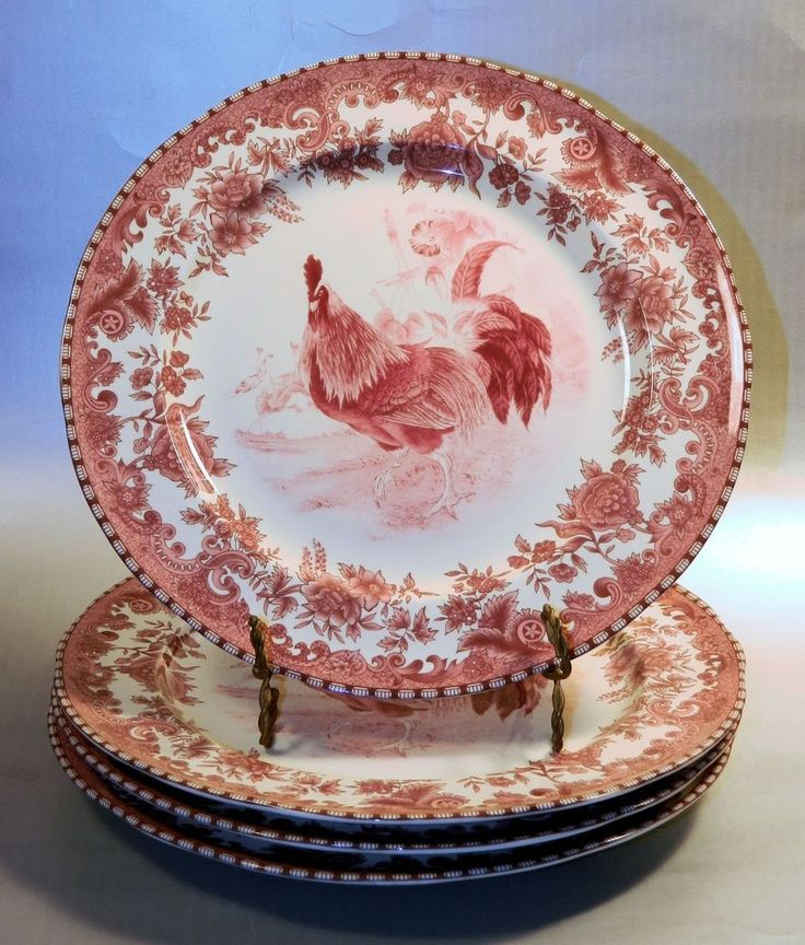 4 William James FARM YARD Dinner Plates French Country Red Transferware #WilliamJames
