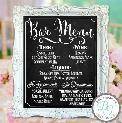 Personalized Chalkboard Wedding Bar Menu ••••••••••••••••••••••••••••••••••••••••  Display your cocktail menu for all your guests to see with this