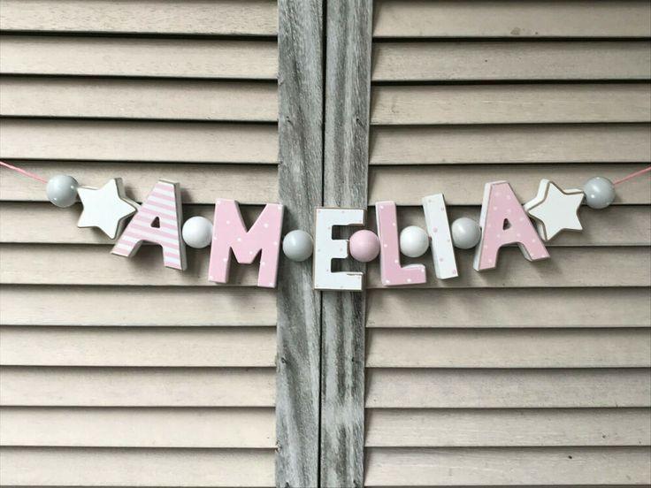 "Details zu ""AMELIA"" NAMENSKETTE KINDERZIMMER ROSA"