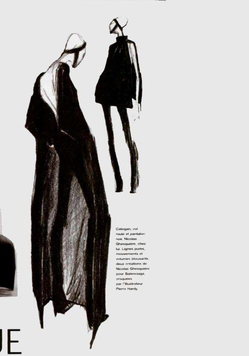 Minimal fashion illustration of Balenciaga by Nicolas Ghesquière - sketch, L'Officiel 1998 n.823