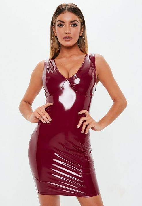 a620153308 Burgundy Vinyl Mini Dress in 2019 | Sexy latex | Vinyl dress ...