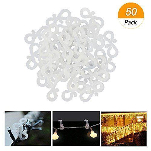 Meetory – 50 Mini Crochets de gouttière en plastique pour suspension de lumière à l'extérieure, guirlande lumineuse de Noël ou tout autre décoration lumineuse temporaire