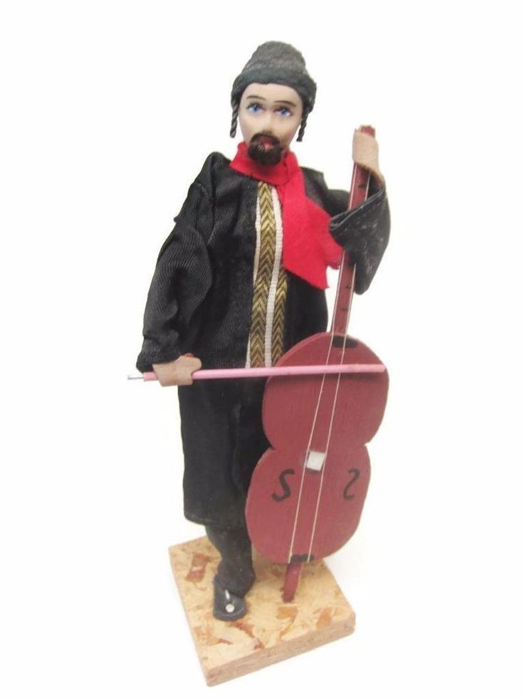 Wonderful addition to an International Doll Collection or as a special gift in celebration of a #Jewish life cycle event. Vintage #Sabra #Israel Handmade International Doll Man, Cello, Judaica,Payot, Exc