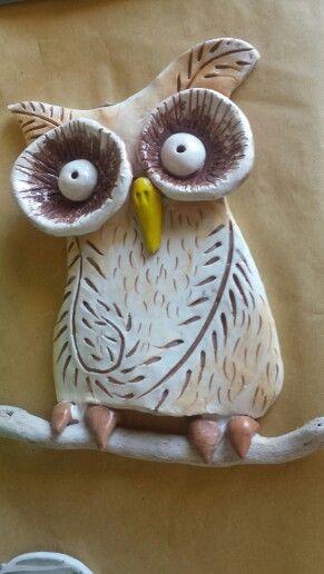 Gufo luneba,  ceramica,  ingobbi