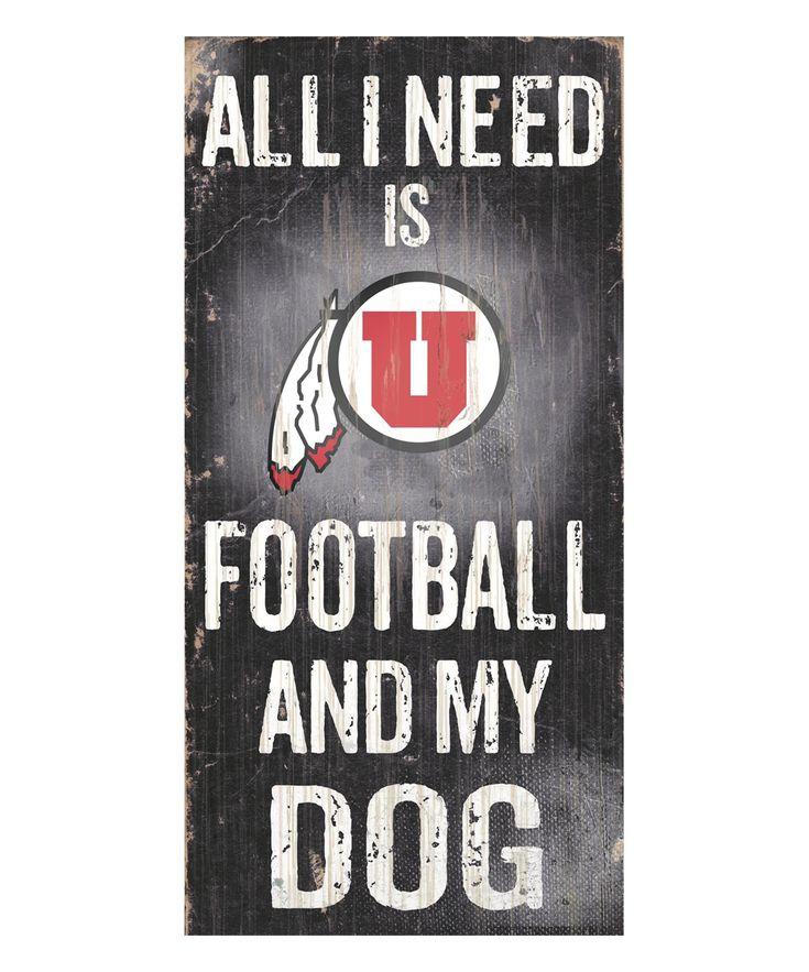 Utah Utes 'Football and My Dog' Wall Sign