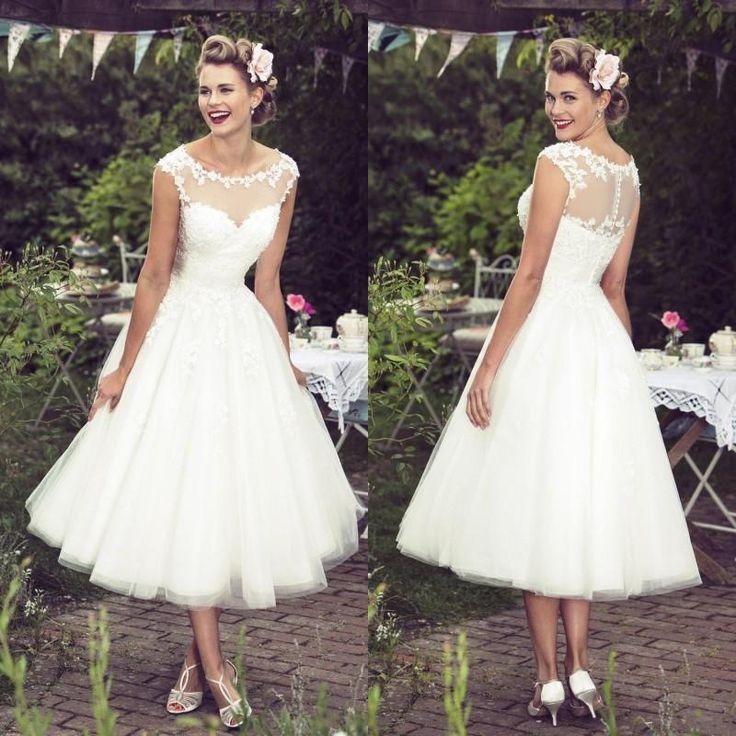 Elegant Lace Sleeve Short Wedding Dresses 2016 Scoop Neck: 25+ Best Ideas About Tea Length Wedding On Pinterest