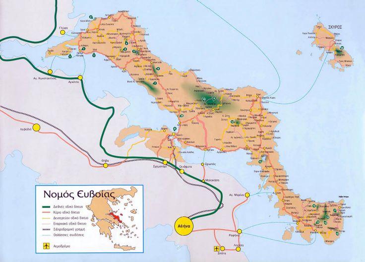 Map of Evia island - Greece