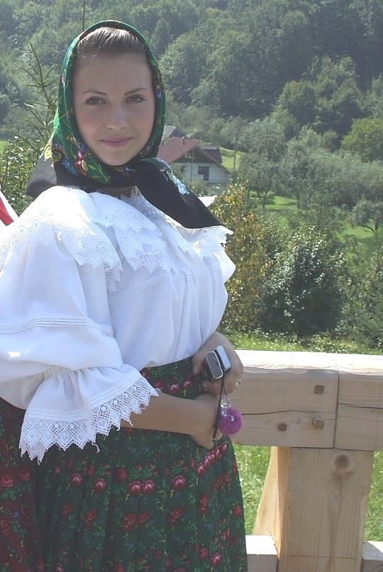 romanians girl in traditional dress, maramures