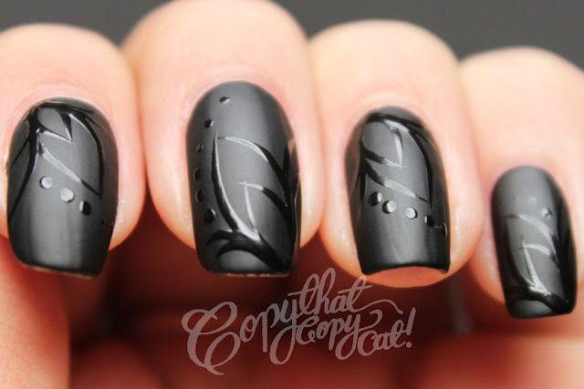 pretty: Copy Cat, Nail Polish, Nailart, Matte Black, Beauty, Nails, Nail Design, Nail Art