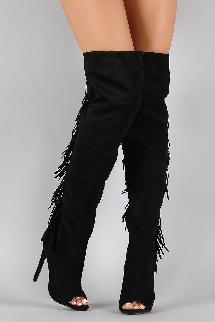 privileged suede fringe peep toe stiletto thigh high boot