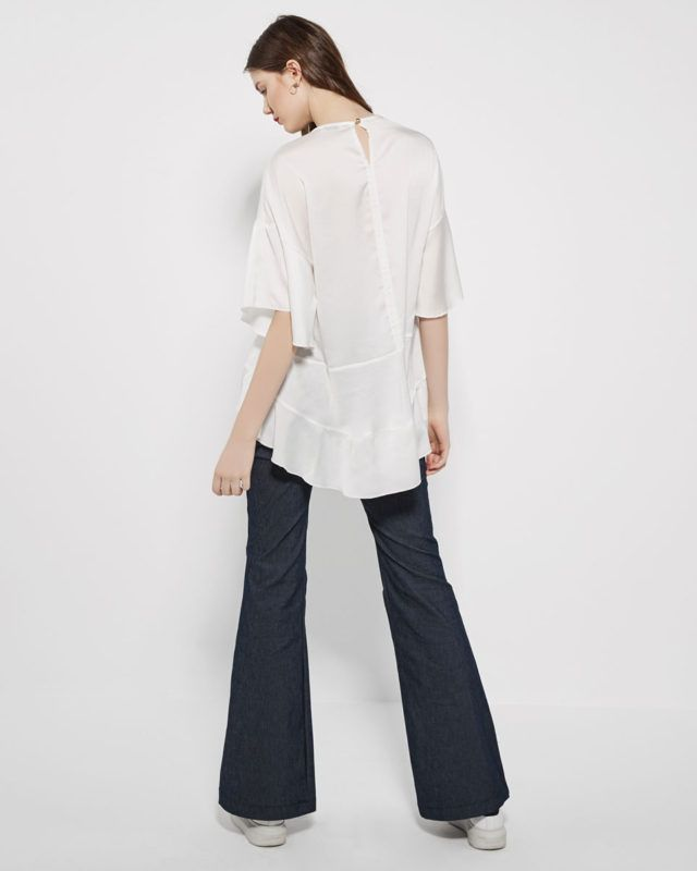 WIDE-LEG JEANS & sateen #shirt
