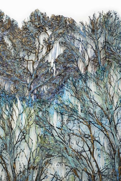 Forest - textile, fiber art by Lesley Richmond