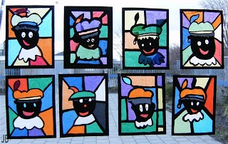 Kids Artists: typical Dutch - stained glass zwarte piet